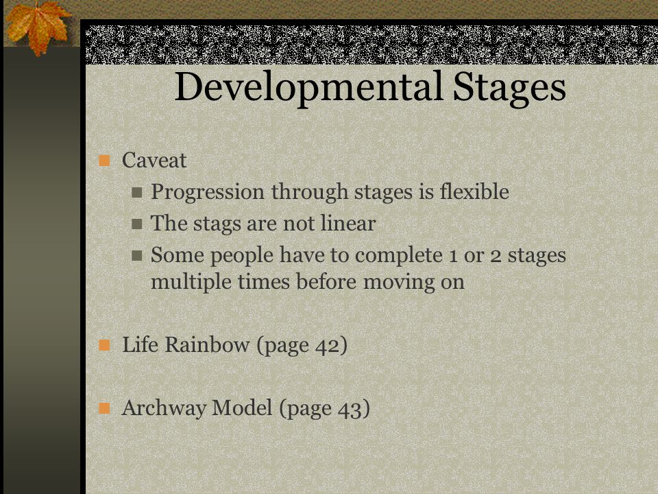 Developmental Stages Caveat Progression through stages is flexible The stags are not linear Some people have to complete 1 or 2 stages multiple times before moving on Life Rainbow (page 42) Archway Model (page 43)