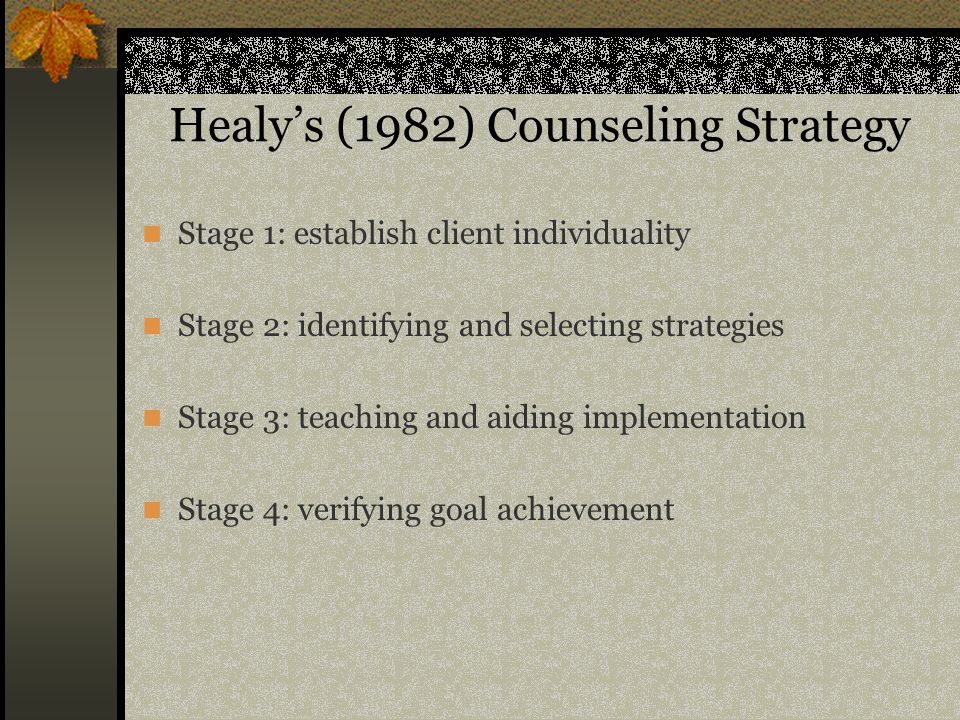 Healy's (1982) Counseling Strategy Stage 1: establish client individuality Stage 2: identifying and selecting strategies Stage 3: teaching and aiding implementation Stage 4: verifying goal achievement