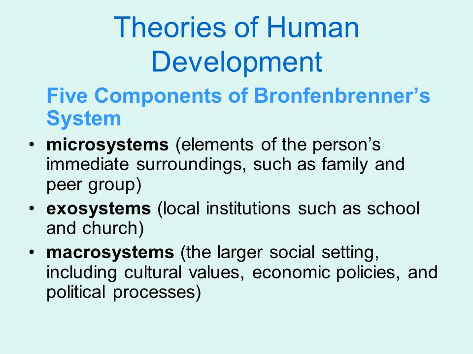 Theories of Human Development Five Components of Bronfenbrenner's System microsystems (elements of the person's immediate surroundings, such as family