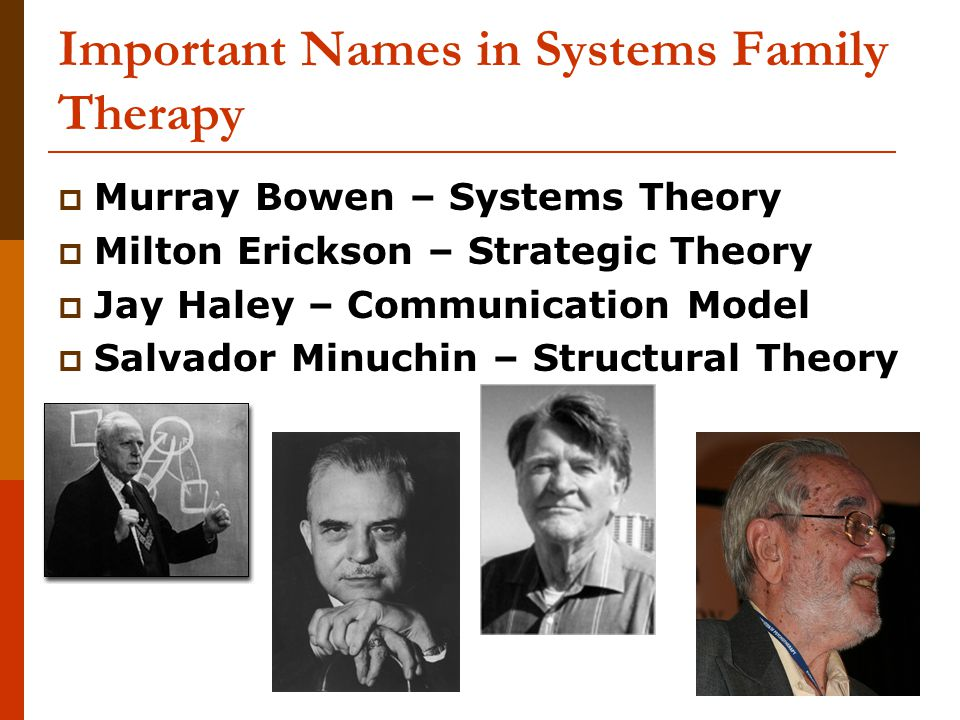 49 Important Names in Systems Family Therapy  Murray Bowen – Systems Theory  Milton Erickson – Strategic Theory  Jay Haley – Communication Model  Salvador Minuchin – Structural Theory