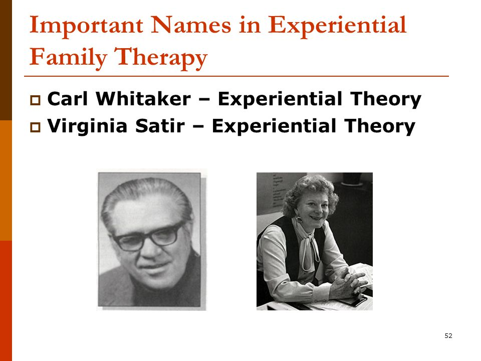 52 Important Names in Experiential Family Therapy  Carl Whitaker – Experiential Theory  Virginia Satir – Experiential Theory