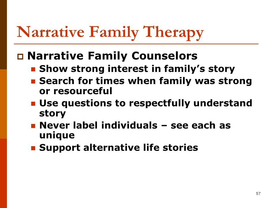 57 Narrative Family Therapy  Narrative Family Counselors Show strong interest in family's story Search for times when family was strong or resourceful Use questions to respectfully understand story Never label individuals – see each as unique Support alternative life stories