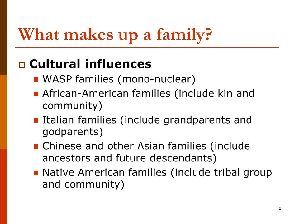 8 What makes up a family.