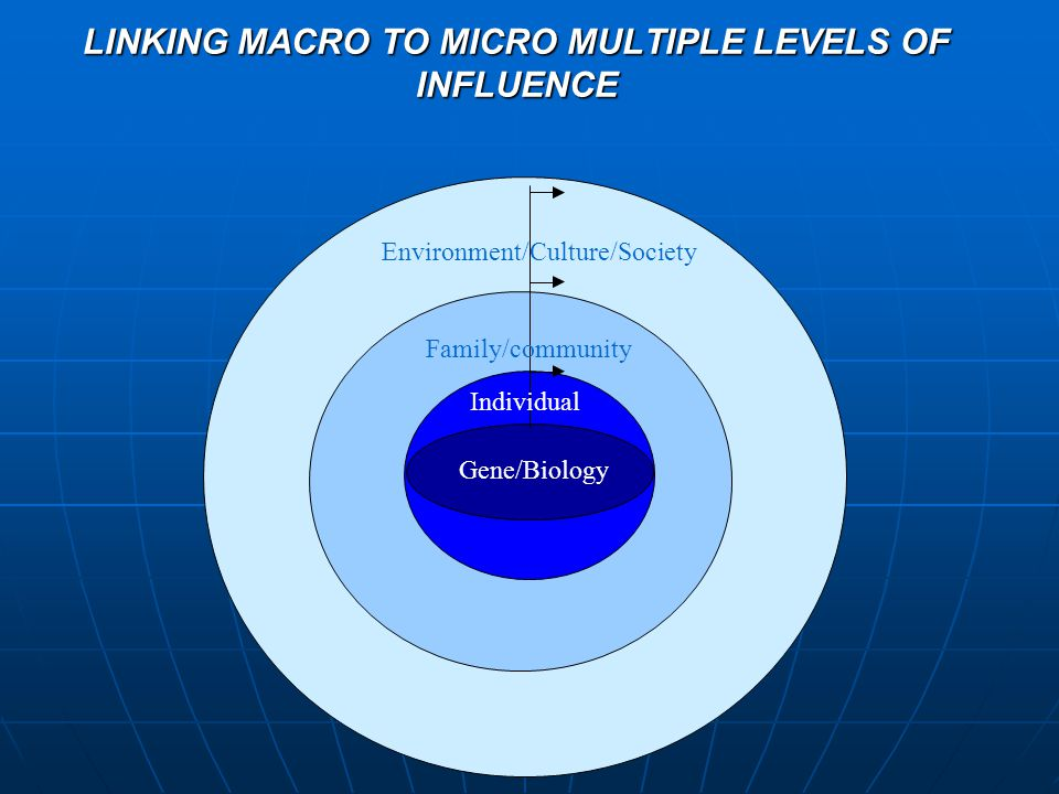 LINKING MACRO TO MICRO MULTIPLE LEVELS OF INFLUENCE YOU Family/community Individual Environment/Culture/Society Gene/Biology