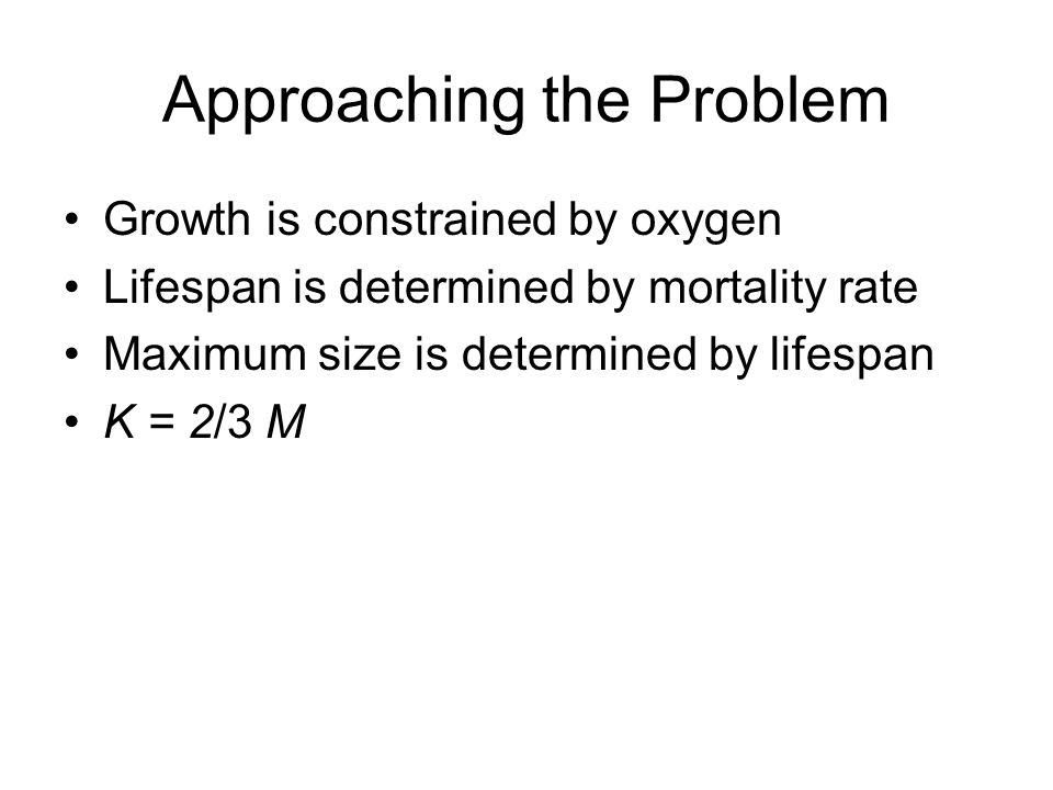 Approaching the Problem Growth is constrained by oxygen Lifespan is determined by mortality rate Maximum size is determined by lifespan K = 2/3 M