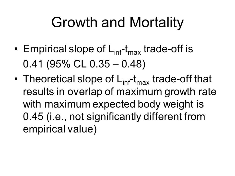 Growth and Mortality Empirical slope of L inf -t max trade-off is 0.41 (95% CL 0.35 – 0.48) Theoretical slope of L inf -t max trade-off that results in overlap of maximum growth rate with maximum expected body weight is 0.45 (i.e., not significantly different from empirical value)