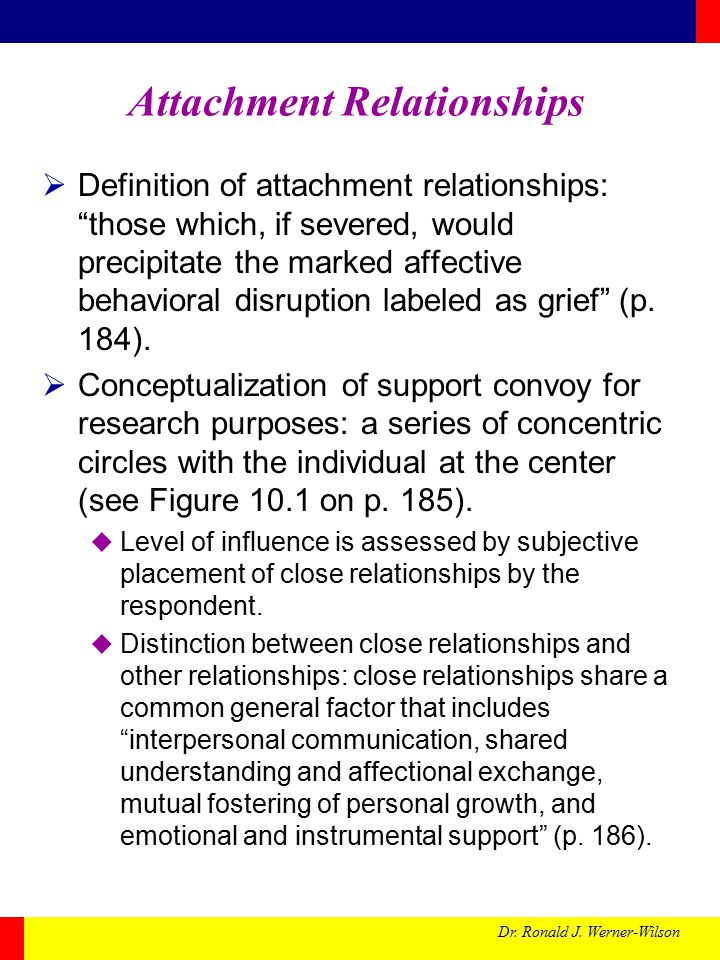 "Dr. Ronald J. Werner-Wilson Attachment Relationships  Definition of attachment relationships: ""those which, if severed, would precipitate the marked"