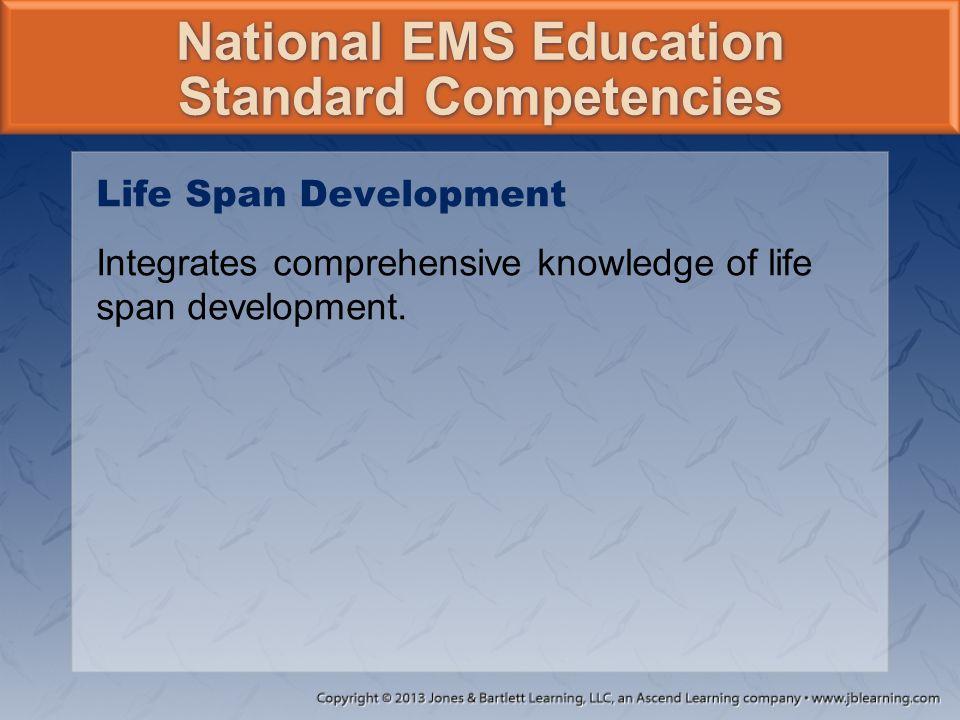 National EMS Education Standard Competencies Life Span Development Integrates comprehensive knowledge of life span development.