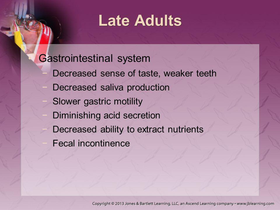 Late Adults Gastrointestinal system −Decreased sense of taste, weaker teeth −Decreased saliva production −Slower gastric motility −Diminishing acid se