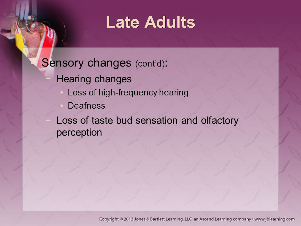 Late Adults Sensory changes (cont'd) : −Hearing changes Loss of high-frequency hearing Deafness −Loss of taste bud sensation and olfactory perception