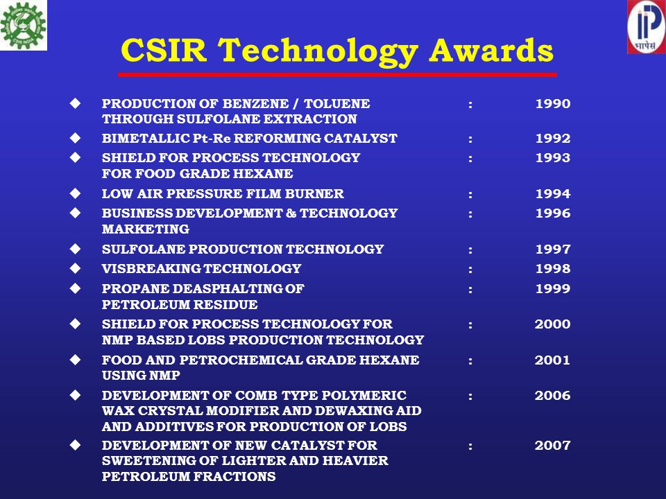 CSIR Technology Awards  PRODUCTION OF BENZENE / TOLUENE :1990 THROUGH SULFOLANE EXTRACTION  BIMETALLIC Pt-Re REFORMING CATALYST:1992  SHIELD FOR PROCESS TECHNOLOGY :1993 FOR FOOD GRADE HEXANE  LOW AIR PRESSURE FILM BURNER:1994  BUSINESS DEVELOPMENT & TECHNOLOGY:1996 MARKETING  SULFOLANE PRODUCTION TECHNOLOGY:1997  VISBREAKING TECHNOLOGY:1998  PROPANE DEASPHALTING OF:1999 PETROLEUM RESIDUE  SHIELD FOR PROCESS TECHNOLOGY FOR:2000 NMP BASED LOBS PRODUCTION TECHNOLOGY  FOOD AND PETROCHEMICAL GRADE HEXANE:2001 USING NMP  DEVELOPMENT OF COMB TYPE POLYMERIC:2006 WAX CRYSTAL MODIFIER AND DEWAXING AID AND ADDITIVES FOR PRODUCTION OF LOBS  DEVELOPMENT OF NEW CATALYST FOR: 2007 SWEETENING OF LIGHTER AND HEAVIER PETROLEUM FRACTIONS