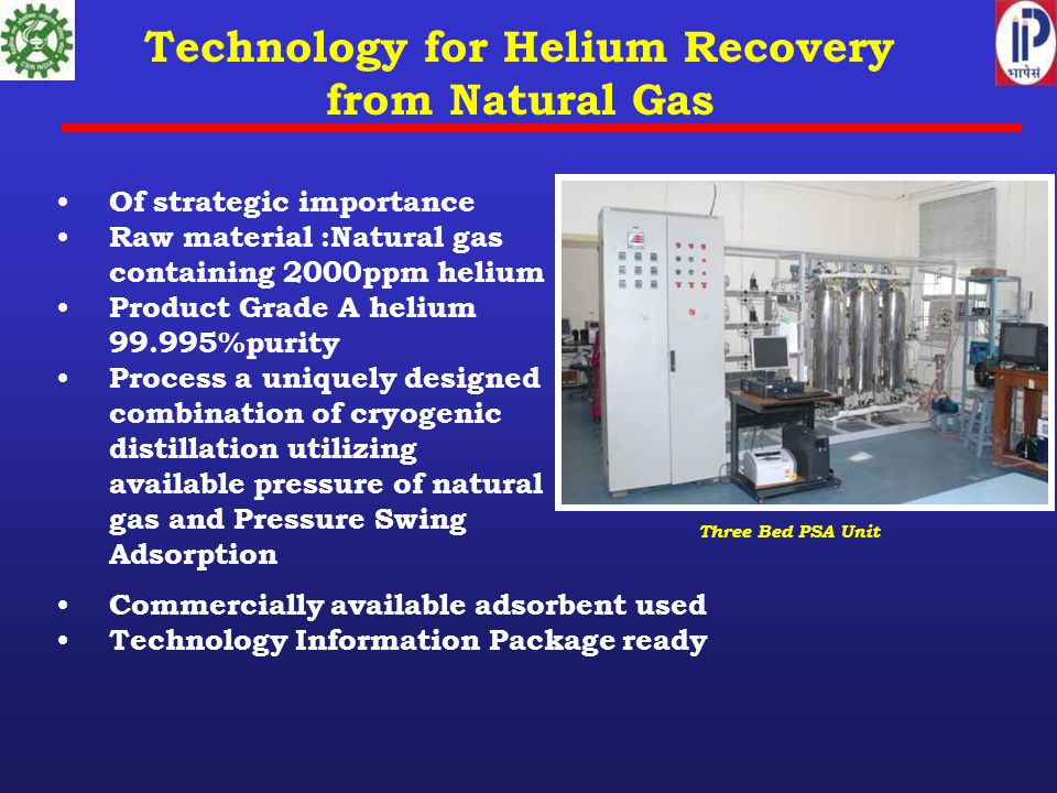 Technology for Helium Recovery from Natural Gas Of strategic importance Raw material :Natural gas containing 2000ppm helium Product Grade A helium 99.995%purity Process a uniquely designed combination of cryogenic distillation utilizing available pressure of natural gas and Pressure Swing Adsorption Three Bed PSA Unit Commercially available adsorbent used Technology Information Package ready