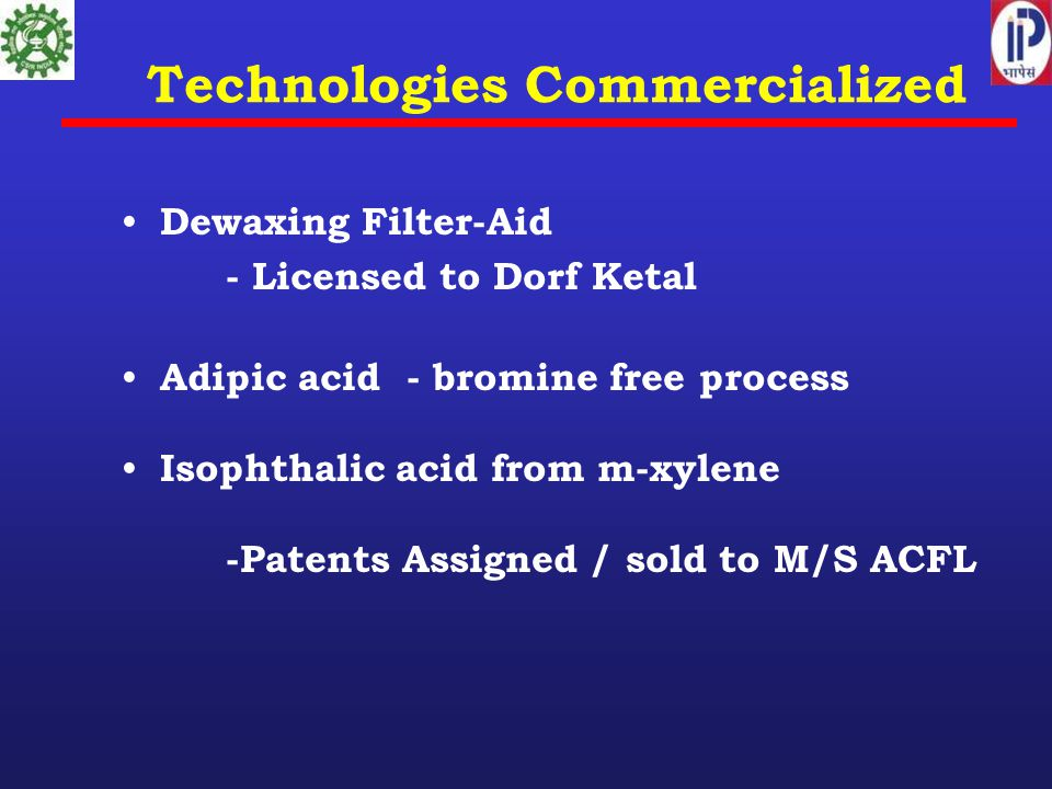Technologies Commercialized Dewaxing Filter-Aid - Licensed to Dorf Ketal Adipic acid - bromine free process Isophthalic acid from m-xylene -Patents Assigned / sold to M/S ACFL