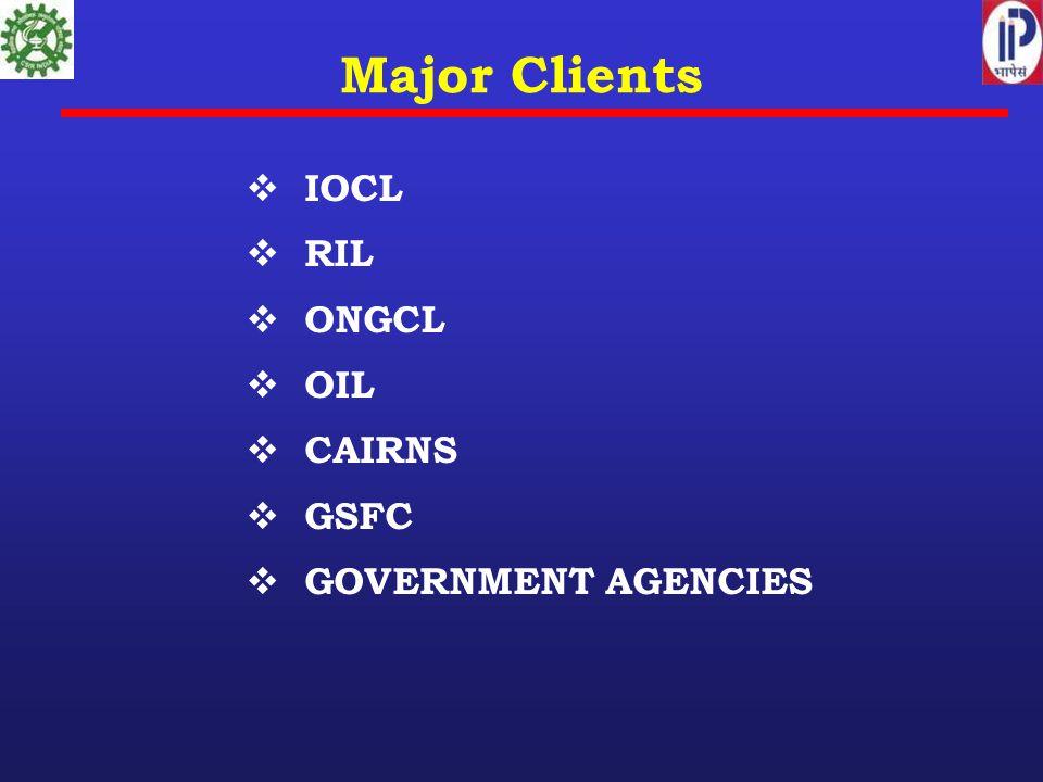 Major Clients  IOCL  RIL  ONGCL  OIL  CAIRNS  GSFC  GOVERNMENT AGENCIES
