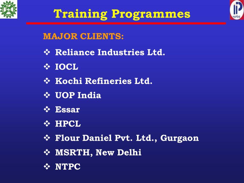 Training Programmes MAJOR CLIENTS:  Reliance Industries Ltd.  IOCL  Kochi Refineries Ltd.  UOP India  Essar  HPCL  Flour Daniel Pvt. Ltd., Gurg