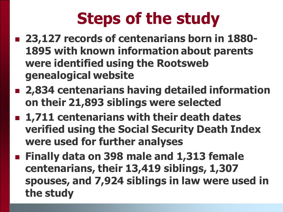 Steps of the study 23,127 records of centenarians born in 1880- 1895 with known information about parents were identified using the Rootsweb genealogical website 2,834 centenarians having detailed information on their 21,893 siblings were selected 1,711 centenarians with their death dates verified using the Social Security Death Index were used for further analyses Finally data on 398 male and 1,313 female centenarians, their 13,419 siblings, 1,307 spouses, and 7,924 siblings in law were used in the study