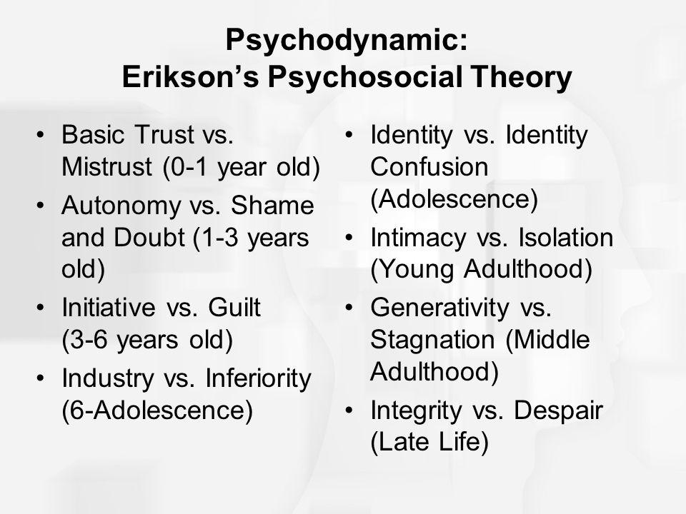 Psychodynamic: Erikson's Psychosocial Theory Basic Trust vs. Mistrust (0-1 year old) Autonomy vs. Shame and Doubt (1-3 years old) Initiative vs. Guilt