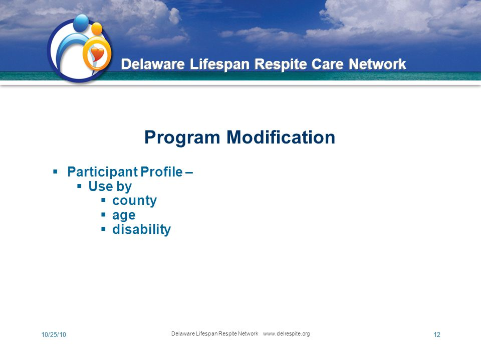Delaware Lifespan Respite Care Network 10/25/10 Delaware Lifespan Respite Network www.delrespite.org 12  Participant Profile –  Use by  county  age  disability Program Modification