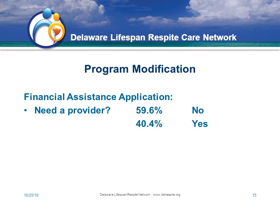 Delaware Lifespan Respite Care Network 10/25/10 Delaware Lifespan Respite Network www.delrespite.org 15 Program Modification Financial Assistance Application: Need a provider 59.6% No 40.4%Yes