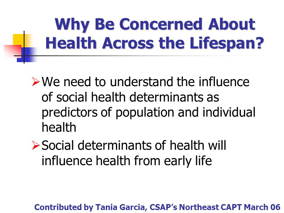 Why Be Concerned About Health Across the Lifespan?  We need to understand the influence of social health determinants as predictors of population and