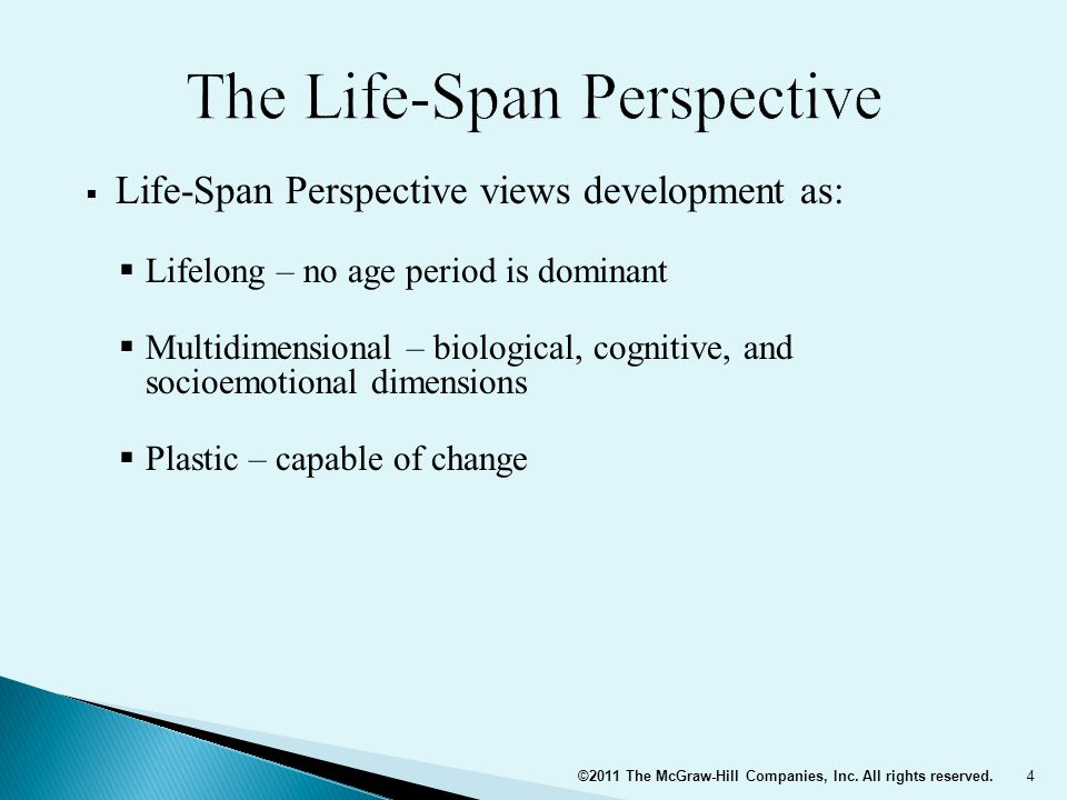  Life-Span Perspective views development as:  Multidisciplinary – shared by psychologists, sociologists, anthropologists, neuroscientists, and medical researchers  Contextual – occurs within a setting  Three types of contextual influences:  Normative age-graded influences: similar for individuals in a particular age group  Normative history-graded influences: common to people of a particular generation because of historical circumstances  Non-normative life events: unusual occurrences that have a major impact on the individual's life 5©2011 The McGraw-Hill Companies, Inc.