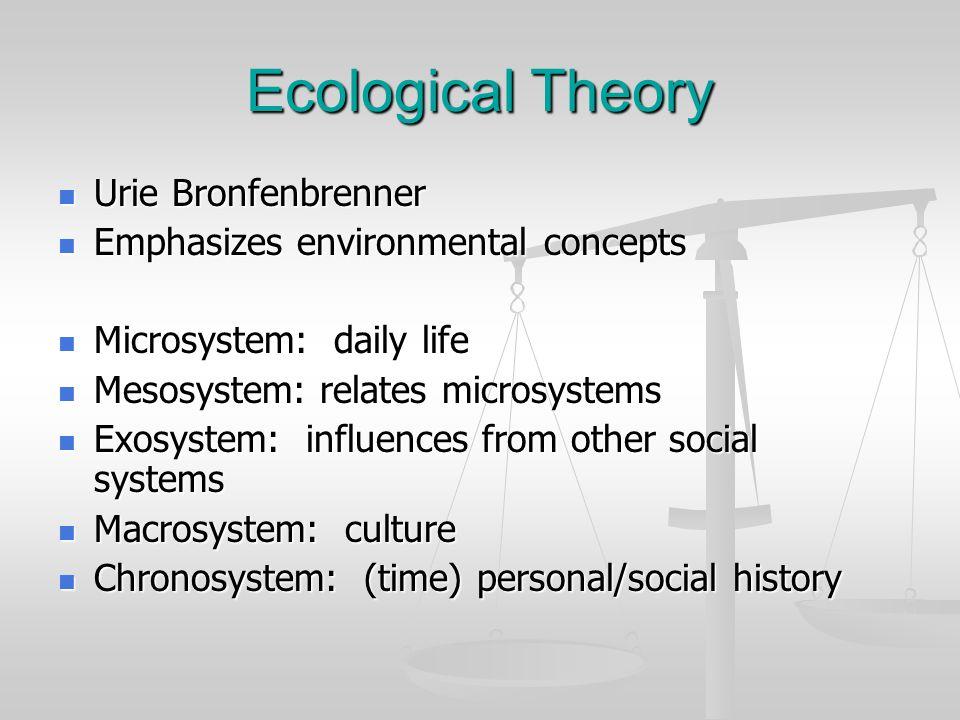 Ecological Theory Urie Bronfenbrenner Urie Bronfenbrenner Emphasizes environmental concepts Emphasizes environmental concepts Microsystem: daily life