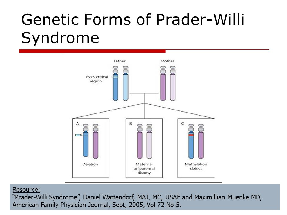 Resource: Prader-Willi Syndrome , Daniel Wattendorf, MAJ, MC, USAF and Maximillian Muenke MD, American Family Physician Journal, Sept, 2005, Vol 72 No 5.