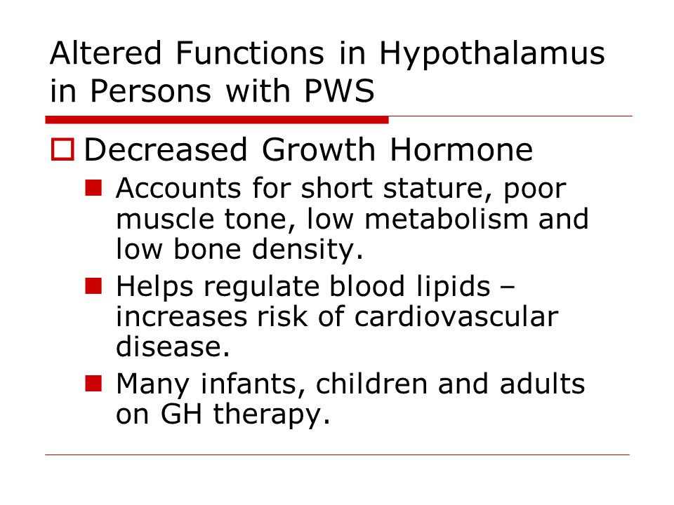 Altered Functions in Hypothalamus in Persons with PWS  Decreased Growth Hormone Accounts for short stature, poor muscle tone, low metabolism and low bone density.