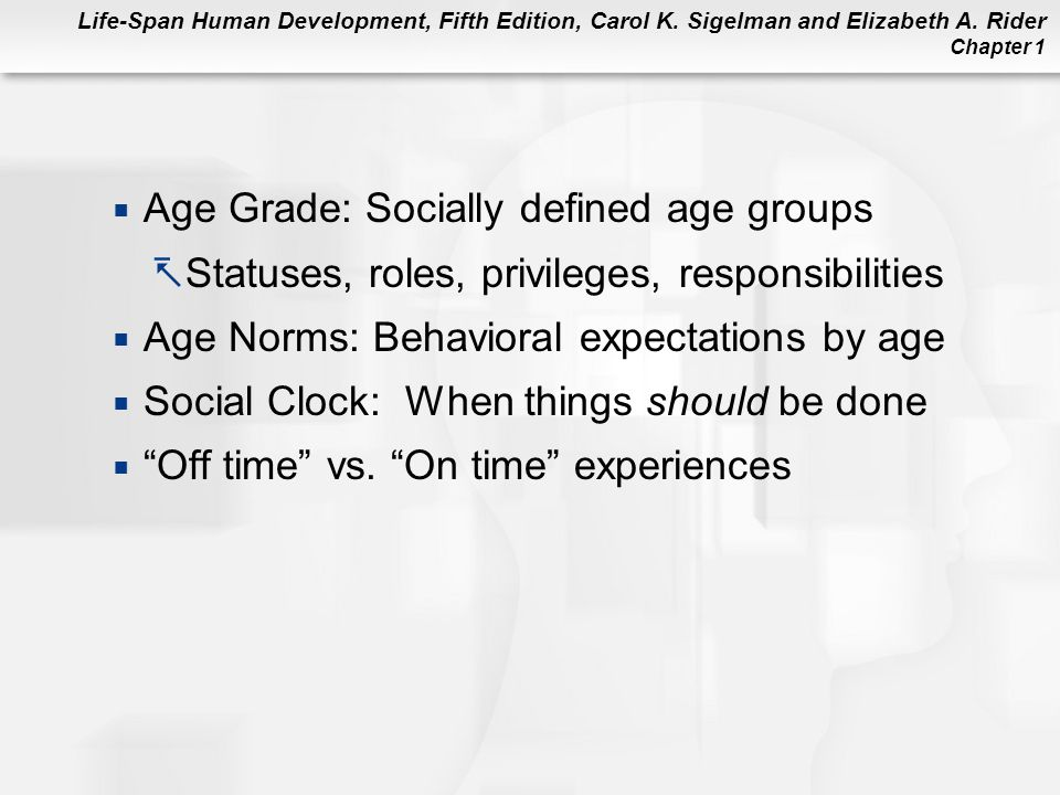 Life-Span Human Development, Fifth Edition, Carol K. Sigelman and Elizabeth A. Rider Chapter 1  Age Grade: Socially defined age groups  Statuses, ro