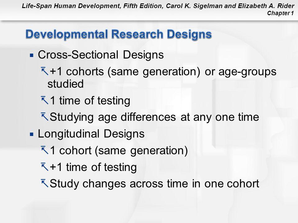 Life-Span Human Development, Fifth Edition, Carol K. Sigelman and Elizabeth A. Rider Chapter 1  Cross-Sectional Designs  +1 cohorts (same generation