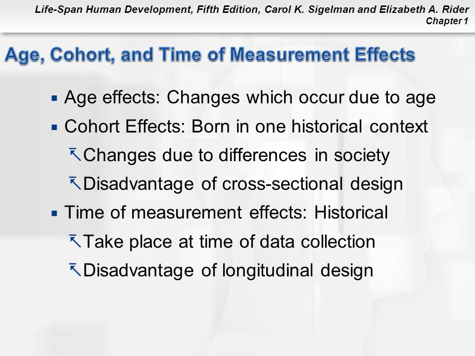 Life-Span Human Development, Fifth Edition, Carol K. Sigelman and Elizabeth A. Rider Chapter 1  Age effects: Changes which occur due to age  Cohort