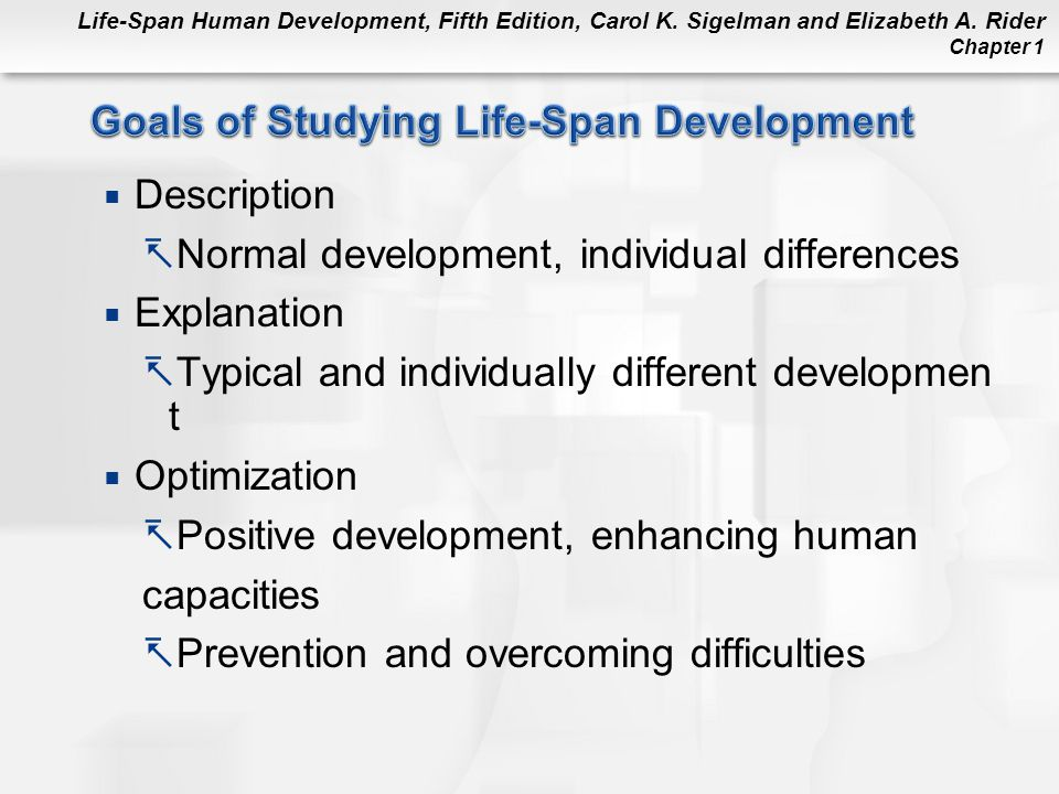 Life-Span Human Development, Fifth Edition, Carol K. Sigelman and Elizabeth A. Rider Chapter 1  Description  Normal development, individual differen