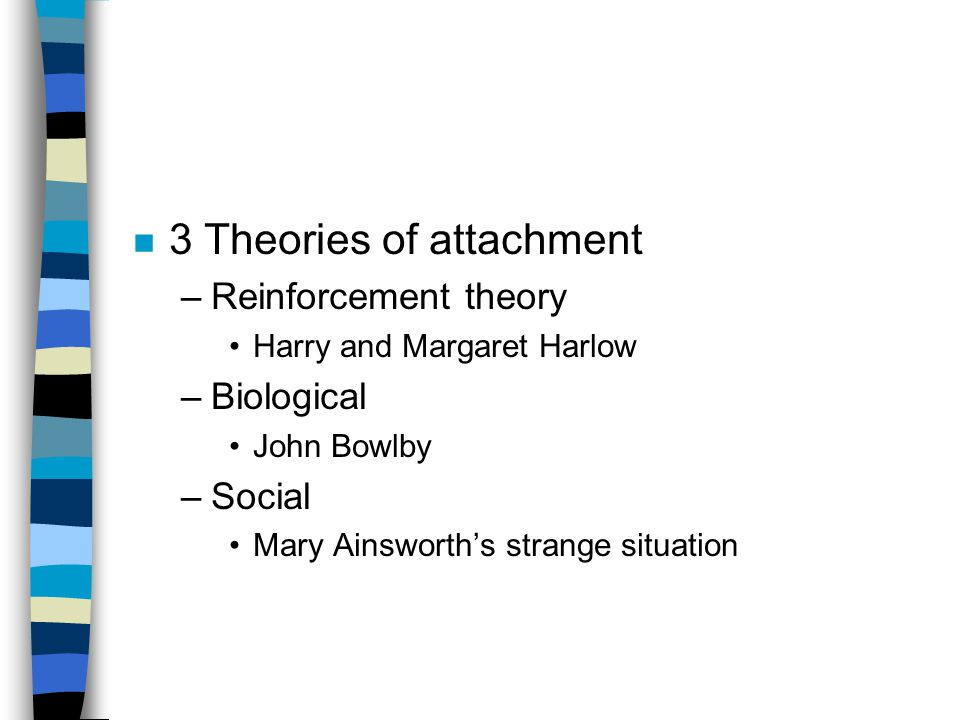 n 3 Theories of attachment –Reinforcement theory Harry and Margaret Harlow –Biological John Bowlby –Social Mary Ainsworth's strange situation