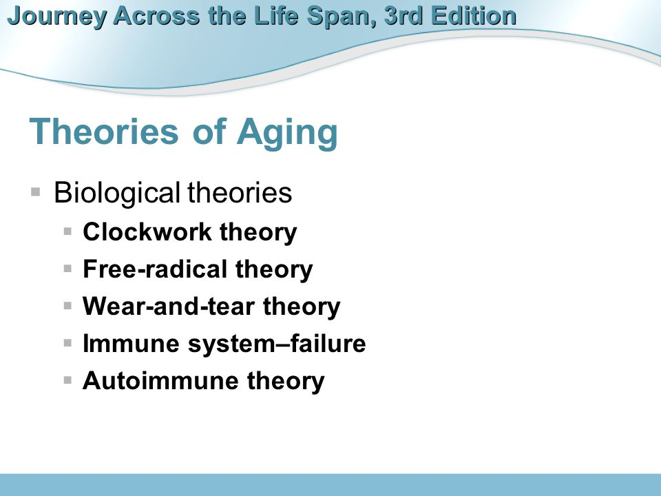 Journey Across the Life Span, 3rd Edition Theories of Aging  Biological theories  Clockwork theory  Free-radical theory  Wear-and-tear theory  Im