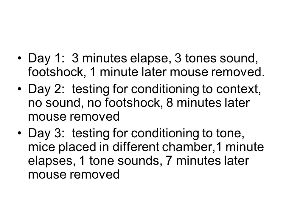 Day 1: 3 minutes elapse, 3 tones sound, footshock, 1 minute later mouse removed.