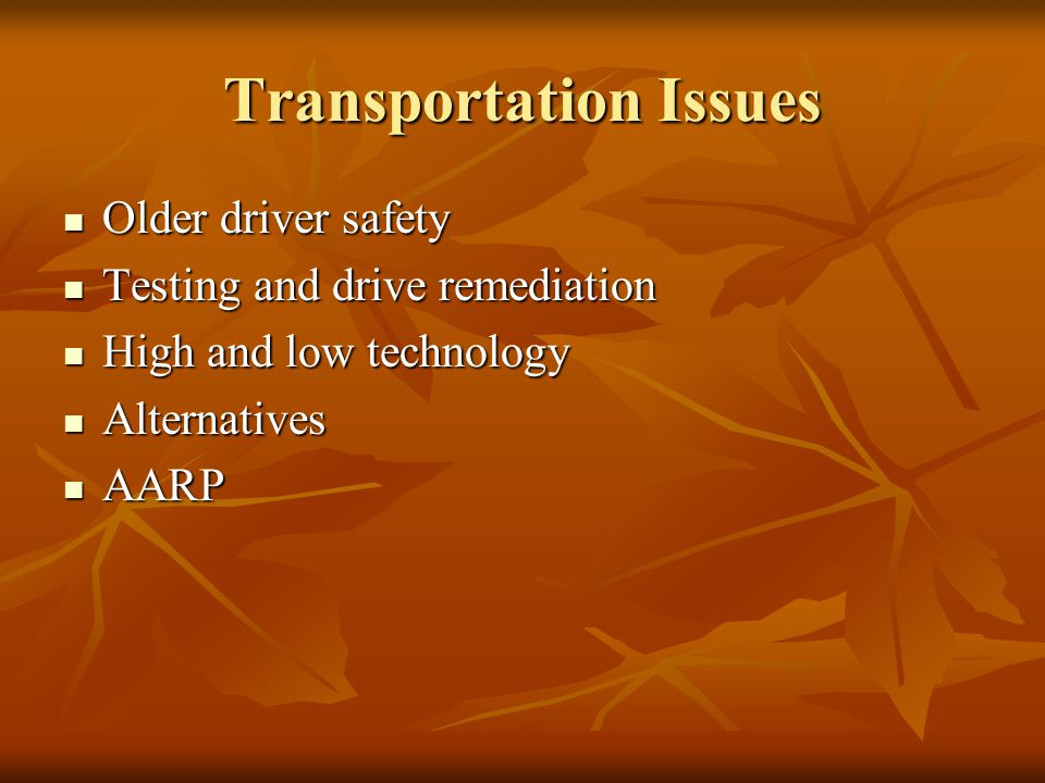 Transportation Issues Older driver safety Older driver safety Testing and drive remediation Testing and drive remediation High and low technology High
