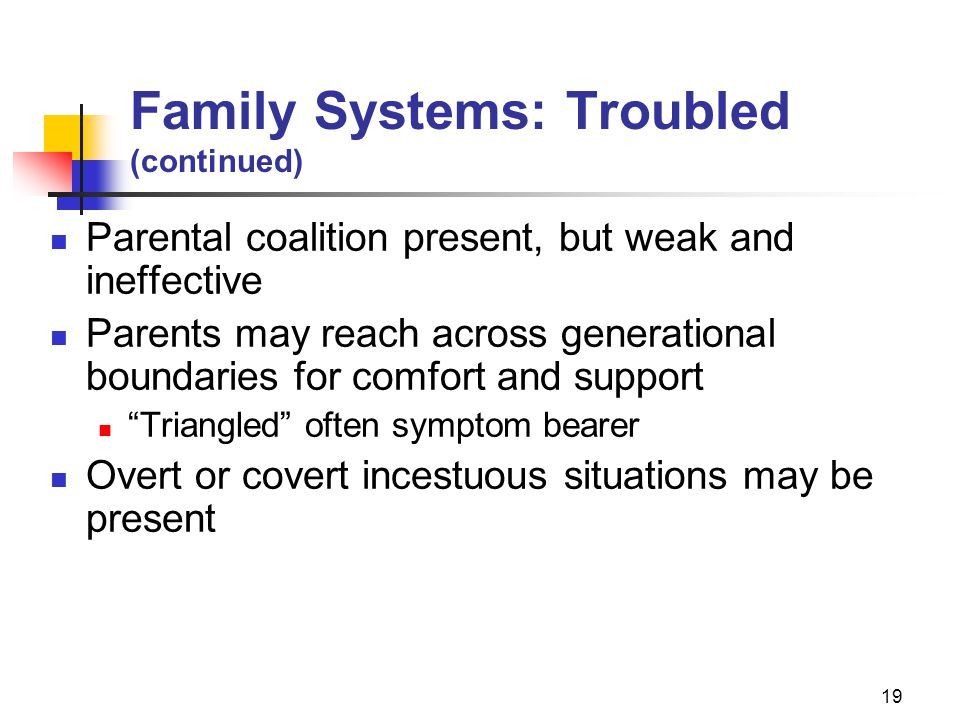 19 Family Systems: Troubled (continued) Parental coalition present, but weak and ineffective Parents may reach across generational boundaries for comfort and support Triangled often symptom bearer Overt or covert incestuous situations may be present