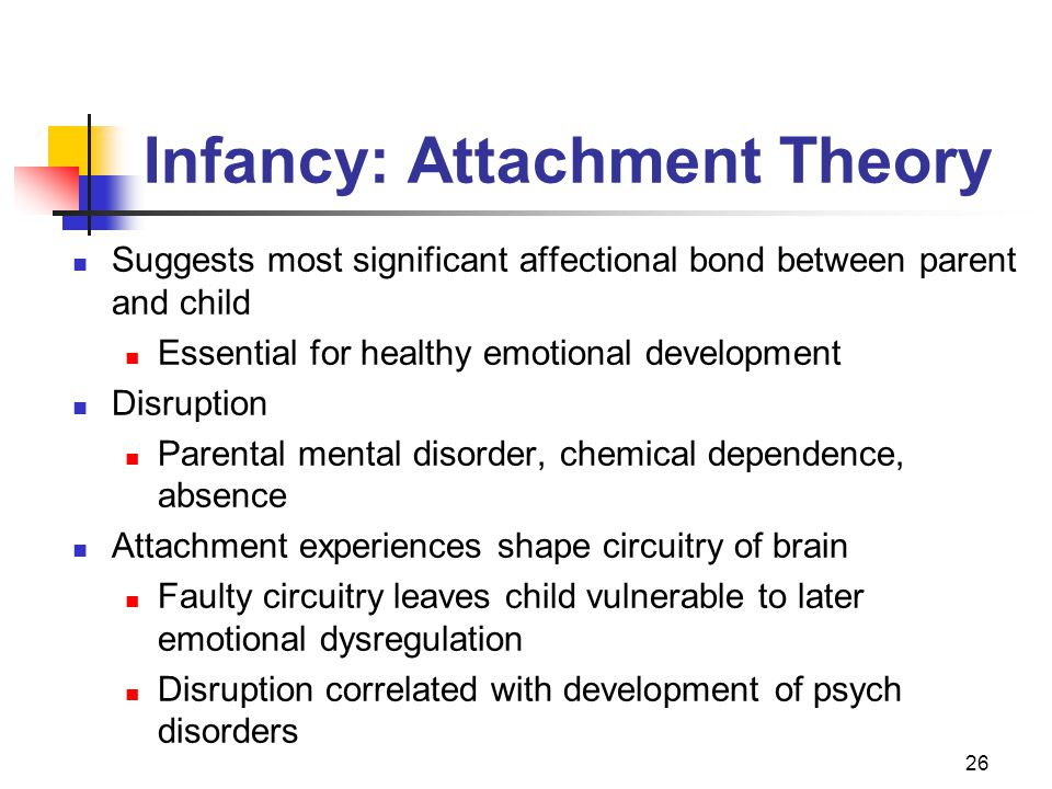 26 Infancy: Attachment Theory Suggests most significant affectional bond between parent and child Essential for healthy emotional development Disruption Parental mental disorder, chemical dependence, absence Attachment experiences shape circuitry of brain Faulty circuitry leaves child vulnerable to later emotional dysregulation Disruption correlated with development of psych disorders