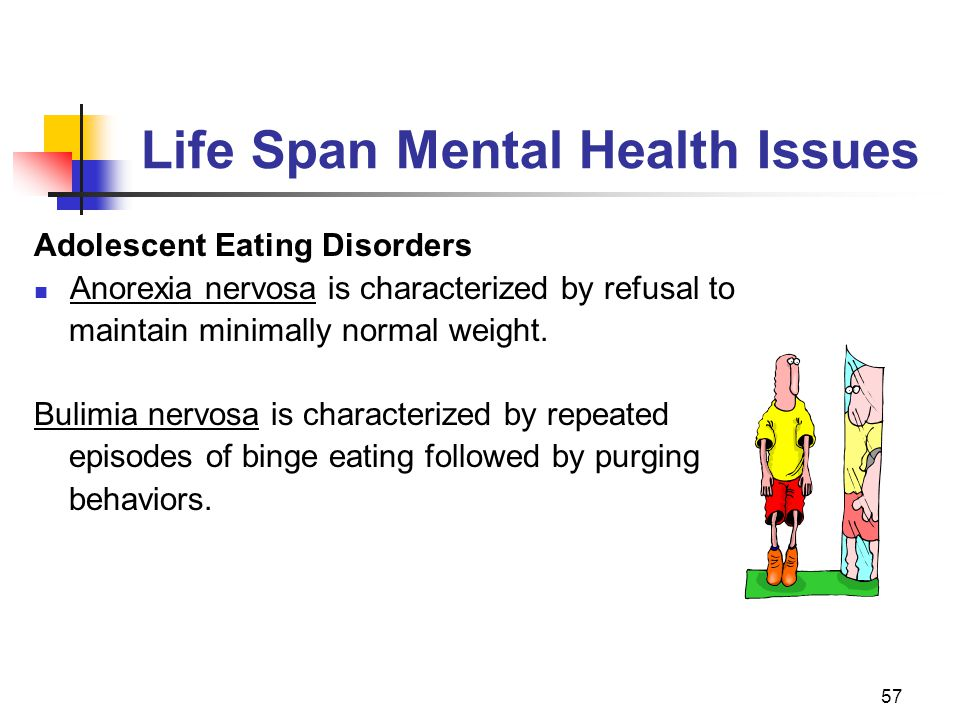 57 Life Span Mental Health Issues Adolescent Eating Disorders Anorexia nervosa is characterized by refusal to maintain minimally normal weight.