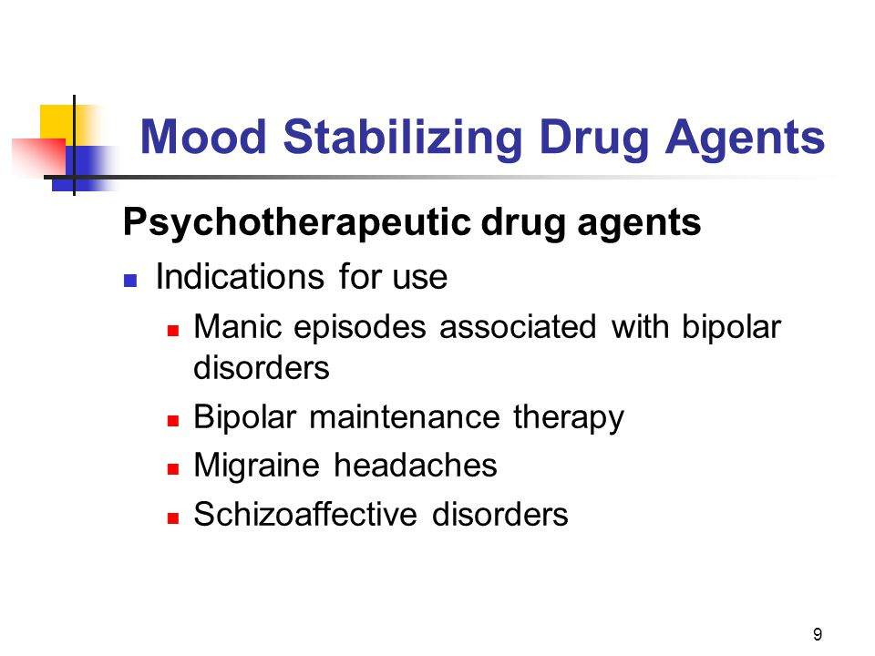 9 Mood Stabilizing Drug Agents Psychotherapeutic drug agents Indications for use Manic episodes associated with bipolar disorders Bipolar maintenance therapy Migraine headaches Schizoaffective disorders