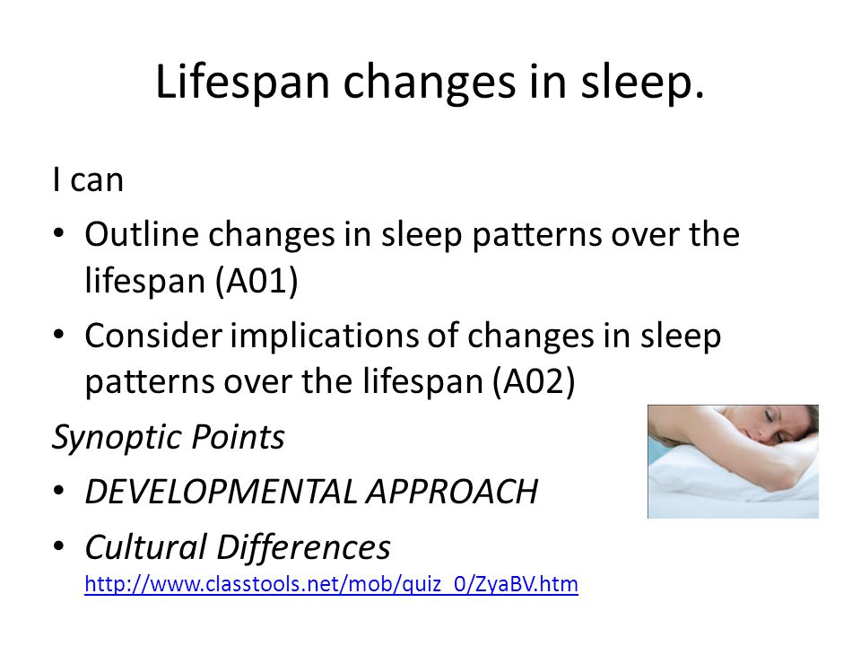 I can Outline changes in sleep patterns over the lifespan (A01) Consider implications of changes in sleep patterns over the lifespan (A02) Synoptic Points DEVELOPMENTAL APPROACH Cultural Differences http://www.classtools.net/mob/quiz_0/ZyaBV.htm http://www.classtools.net/mob/quiz_0/ZyaBV.htm