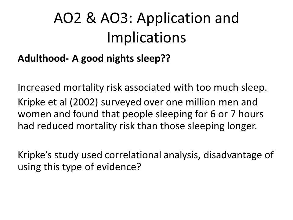 AO2 & AO3: Application and Implications Adulthood- A good nights sleep?.