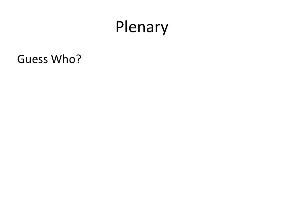 Plenary Guess Who?