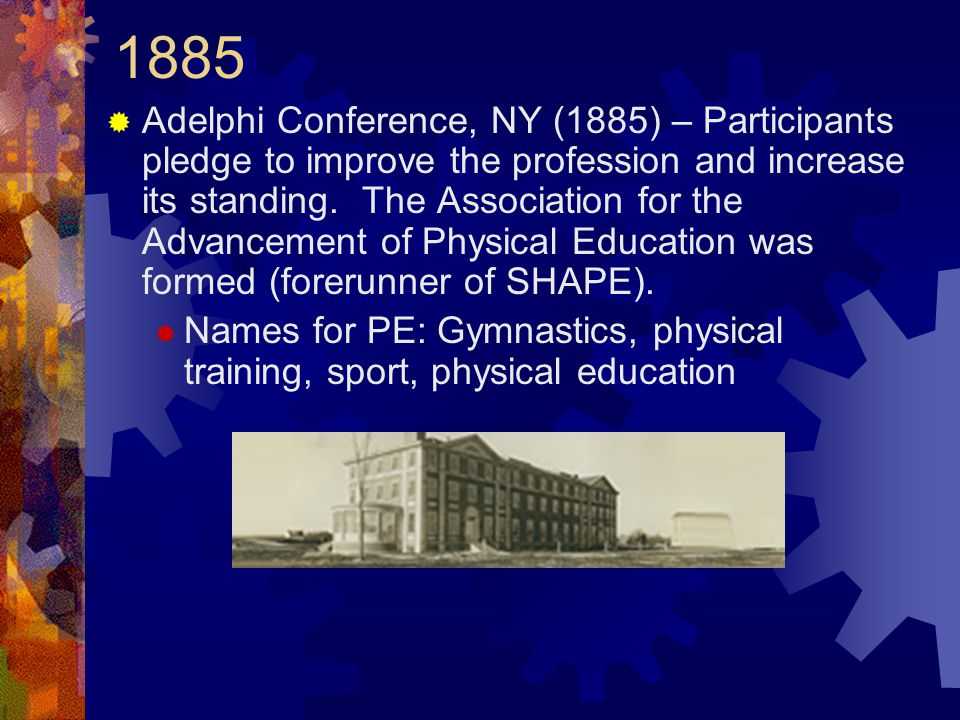 1885  Adelphi Conference, NY (1885) – Participants pledge to improve the profession and increase its standing.