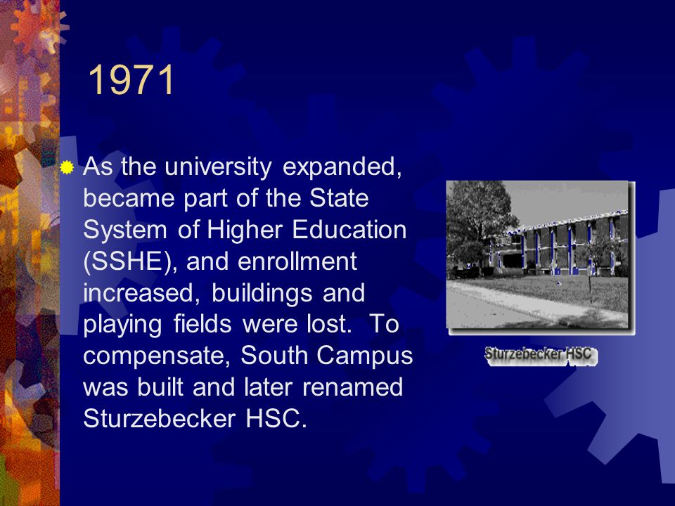 1971  As the university expanded, became part of the State System of Higher Education (SSHE), and enrollment increased, buildings and playing fields were lost.
