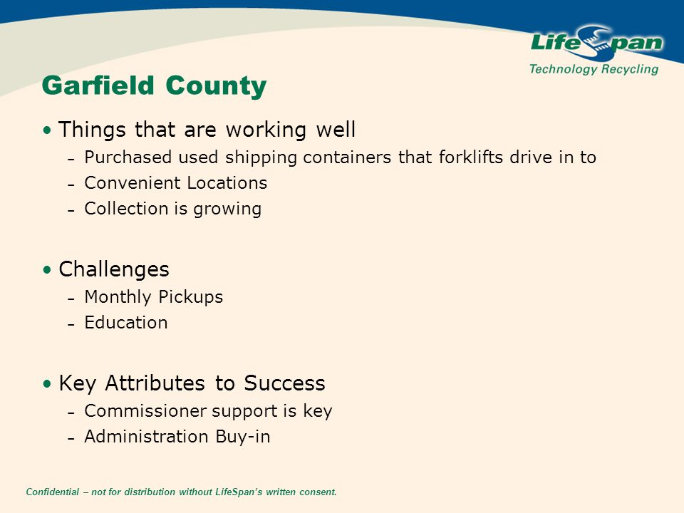 Confidential – not for distribution without LifeSpan's written consent. Garfield County Things that are working well – Purchased used shipping contain