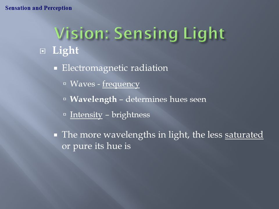  Light  Electromagnetic radiation  Waves - frequency  Wavelength – determines hues seen  Intensity – brightness  The more wavelengths in light, the less saturated or pure its hue is Sensation and Perception