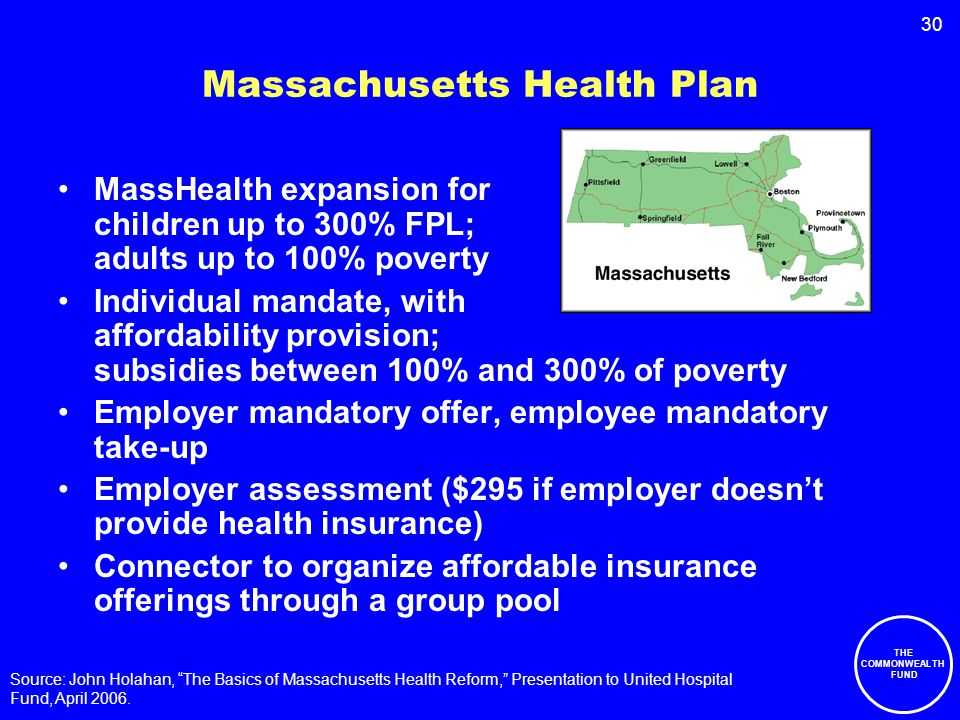30 Massachusetts Health Plan MassHealth expansion for children up to 300% FPL; adults up to 100% poverty Individual mandate, with affordability provision; subsidies between 100% and 300% of poverty Employer mandatory offer, employee mandatory take-up Employer assessment ($295 if employer doesn't provide health insurance) Connector to organize affordable insurance offerings through a group pool Source: John Holahan, The Basics of Massachusetts Health Reform, Presentation to United Hospital Fund, April 2006.