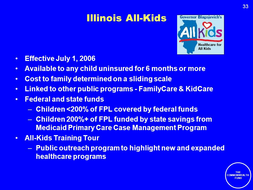 33 Illinois All-Kids Effective July 1, 2006 Available to any child uninsured for 6 months or more Cost to family determined on a sliding scale Linked to other public programs - FamilyCare & KidCare Federal and state funds –Children <200% of FPL covered by federal funds –Children 200%+ of FPL funded by state savings from Medicaid Primary Care Case Management Program All-Kids Training Tour –Public outreach program to highlight new and expanded healthcare programs THE COMMONWEALTH FUND
