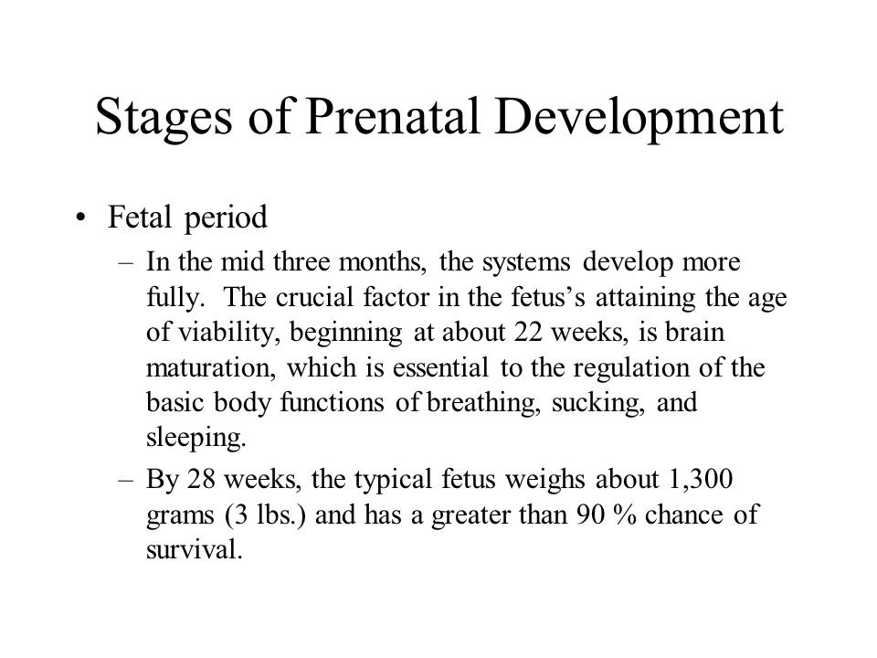 Stages of Prenatal Development Fetal period –In the mid three months, the systems develop more fully. The crucial factor in the fetus's attaining the